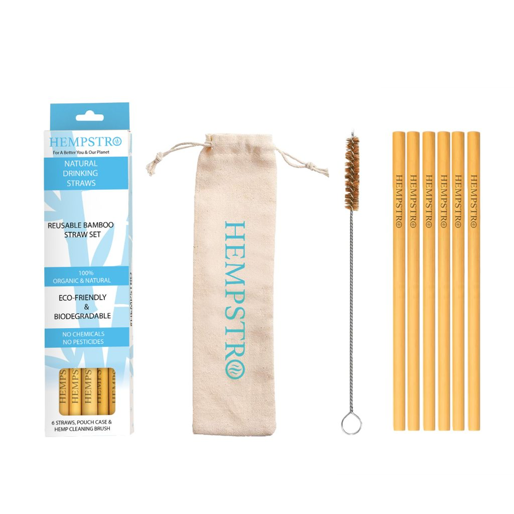 Hempstro Bamboo straws set with pouch and hemp cleaning brush