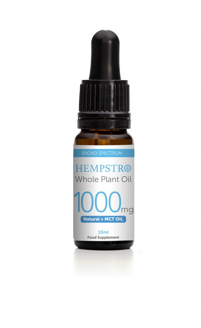 Hempstro Whole Plant CBD Oil 10ml 1000mg - Natural + MCT Oil